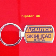Caution Skinhead Keyring